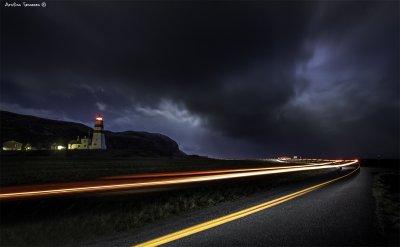 Car lights at Alnes